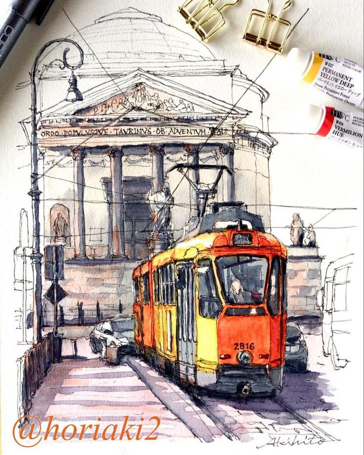 Akihito Horigome (@horiaki2) в Instagram: Gran Madre Church & Tram , Torino , Itary #aquarell #art #painting #watercolor #watercolour #sketch #paint #drawing #sketching #sketchbook #travelbook #archisketcher #sketchaday #sketchwalker #sketchcollector #traveldiary #topcreator #usk #urbansketch #urbansketchers #скетчбук #скетч #скетчинг #pleinair #aquarelle #watercolorsketch #usk #architecture #painting #illustration