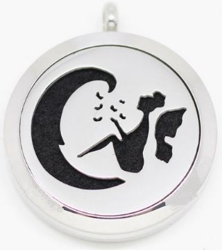 moon-fairy aromatherapy diffuser pendant necklace - stainless steel & magnetic