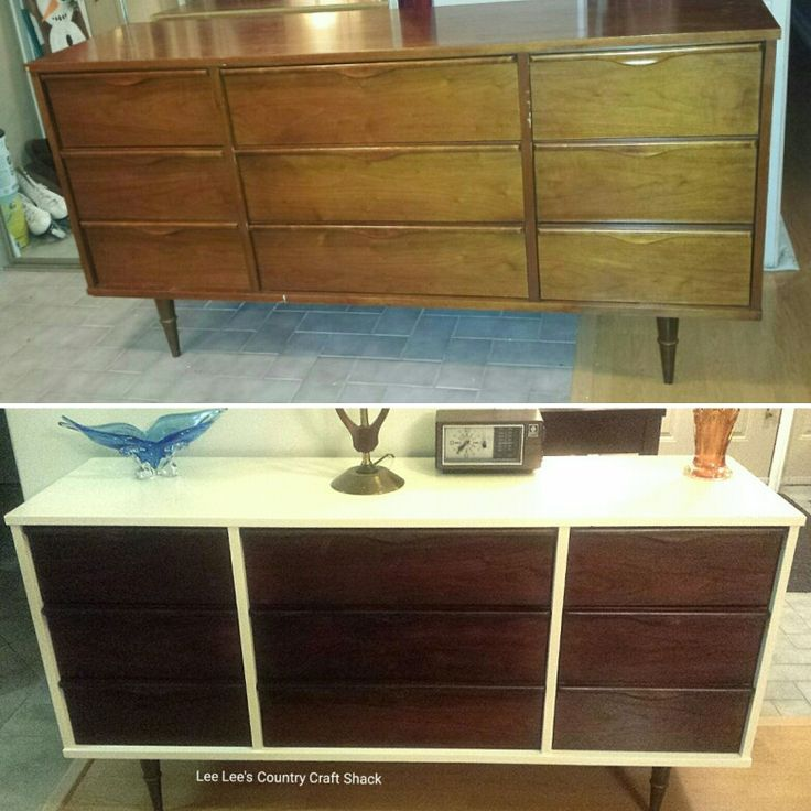 Mid Century Modern dresser I refinished in Old White Chalk style paint and restained drawers.