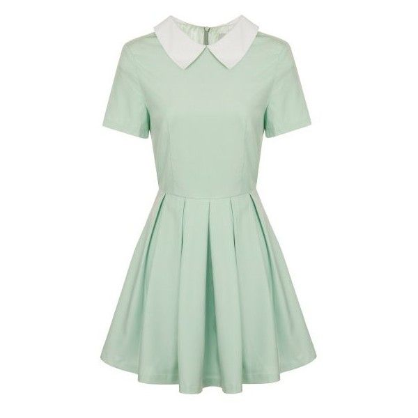 Lavish Alice Mint Contrast Collar Box Pleat Skater Dress ❤ liked on Polyvore featuring dresses, pastel dress, green color dress, box pleat dress, skater dresses and green dress