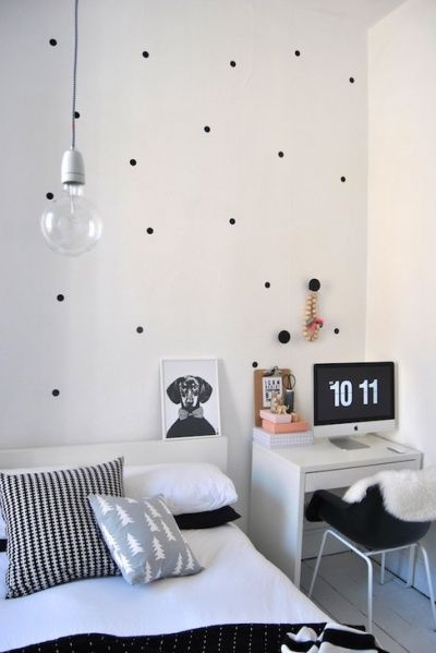 Random polka dots in black & white teen room...