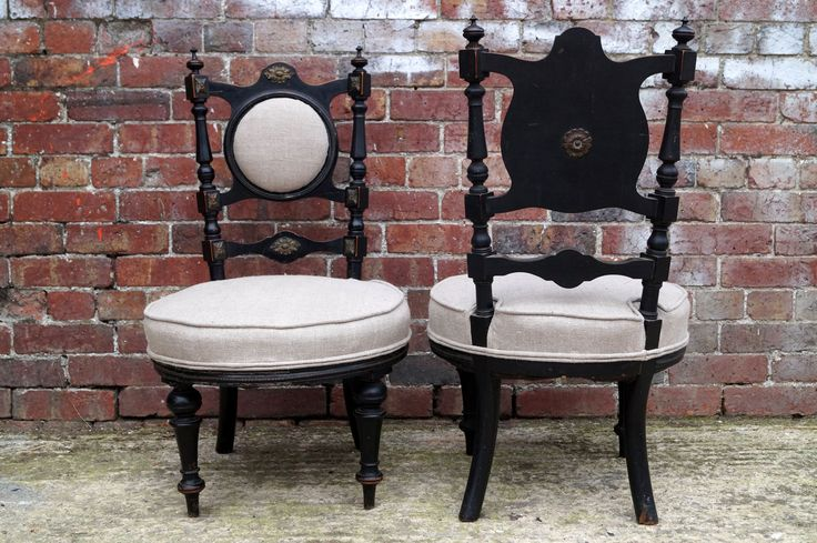 Pair of English Victorian Chairs with Ebonised Wooden Frame