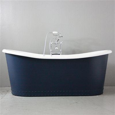 the hexham vintage designer pedestal hale blue exterior cast iron french bateau beth tub package