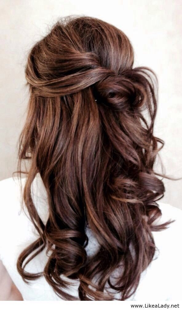 A beautiful brown with a tint of red + a half up half down bun