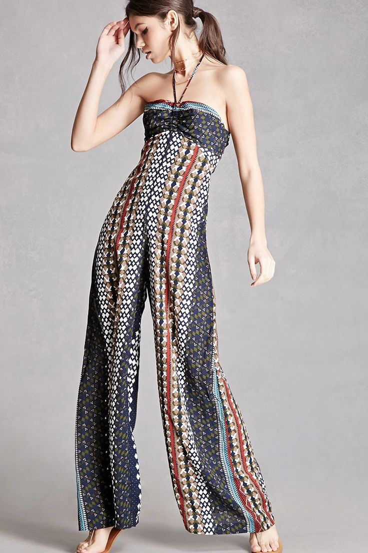 A woven jumpsuit featuring an allover tribal-inspired print, an elasticized bandeau neckline with self-tie halter strings, a lace-up back with ladder sides, back cutout, palazzo pant legs, and a hidden back zipper. This is an independent brand and not a Forever 21 branded item.