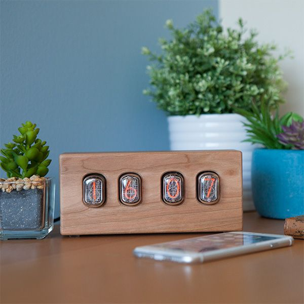 12/24 Hour Nixie Tube Clock in Cherry Wood - Exclusive Additional Image