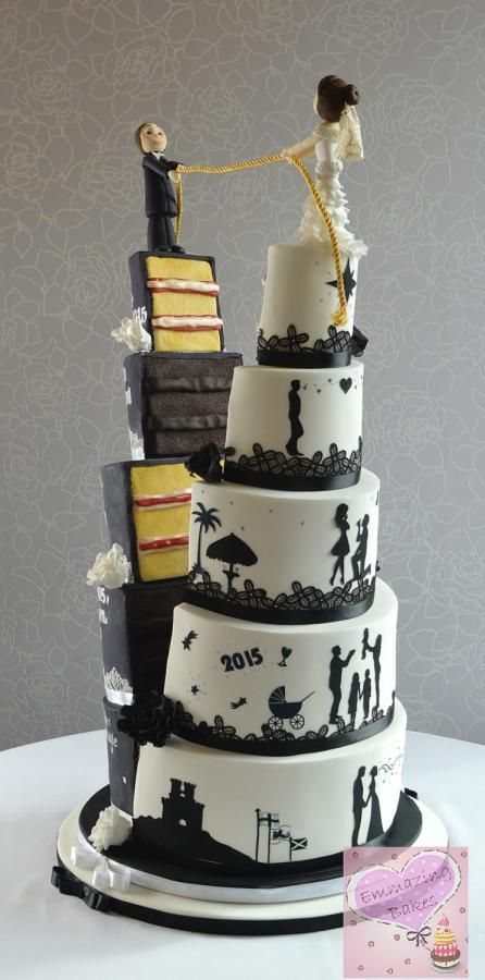 Split half and half wedding cake by Emmazing Bakes - http://cakesdecor.com/cakes/206540-split-half-and-half-wedding-cake