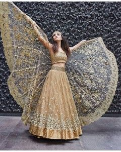Dull Gold Floral Embroidered Lehenga