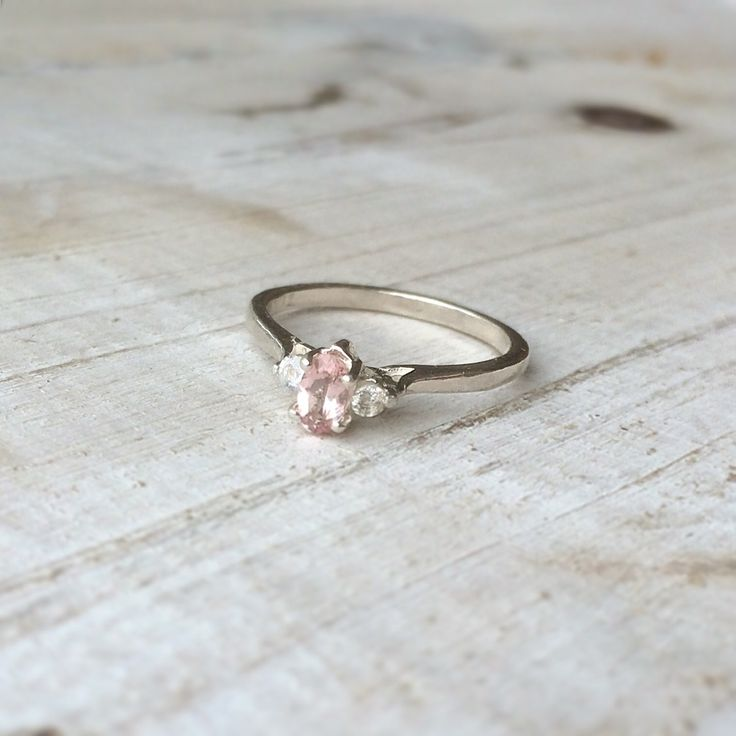 Morganite en witte saffier 925 sterling zilver ring