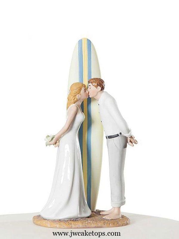 Summer Lovin' Surf Bride and Groom Wedding Cake Top