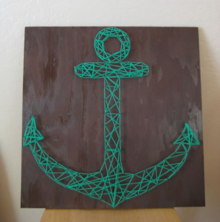DIY - string art: Anchor String Art, Anchors, Gift, Prettylittle String Art, Diy Project, Craft Ideas, Stringart, Art Anchor, Diy String