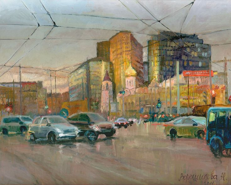 Title: Tver outpost Artist: Natalia Voroshilova (Novikova) Style: Impressionism Genre: Architecture Medium: Oil on canvas Size(cm): H80*W100 Year: 2011 Country: Russia Description: I was struck by a combination of an old and new city landscape in this corner. New buildings from glass and concrete as three athletes protect the small building of ancient church. For giving of integrity of all composition I have chosen evening lighting. The city plunges into twilight, all paints are softened…
