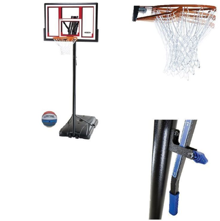 """Outdoor 48"""" Basketball Hoop Portable System Adjustable Height Ball Included   #Outdoor48Basketball"""