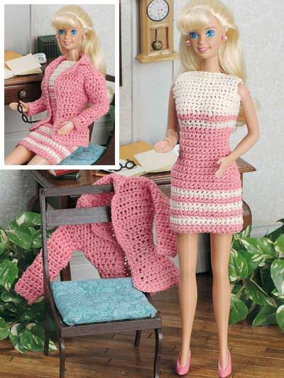 """At the Office...    Fits 11 1/2"""" fashion doll. Crocheted using size 10 crochet cotton thread."""