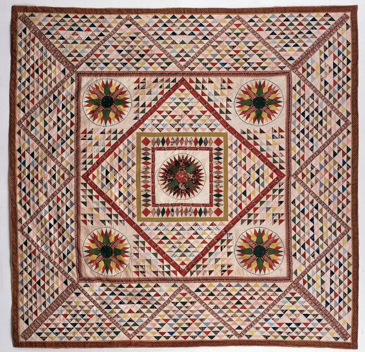 Francis Scott Key Family Quilt. This is a quilt by Mary Tayloe Lloyd Key, the wife of Francis Scott Key, who penned The Star Spangled Banner. It has almost 3,000 triangles! #quilt
