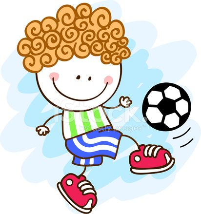 Doodle cartoon of happy soccer, football player  little boy playing with ball. Caricatura de niño jugando fútbol.