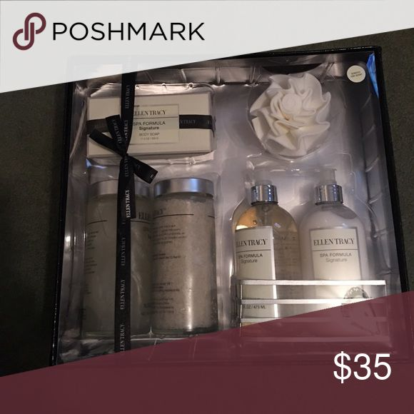 Ellen Tracy signature spa gift set NWT Full size spa soap, salt scrub, body wash , hand soap and lotion . With Rose shaped loofah . New in box . Beautiful 🎁! Ellen Tracy Makeup