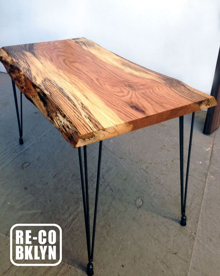 Red Oak Live Edge Desk with Hairpin Legs. Grain features spalting which gives the color an inky look.