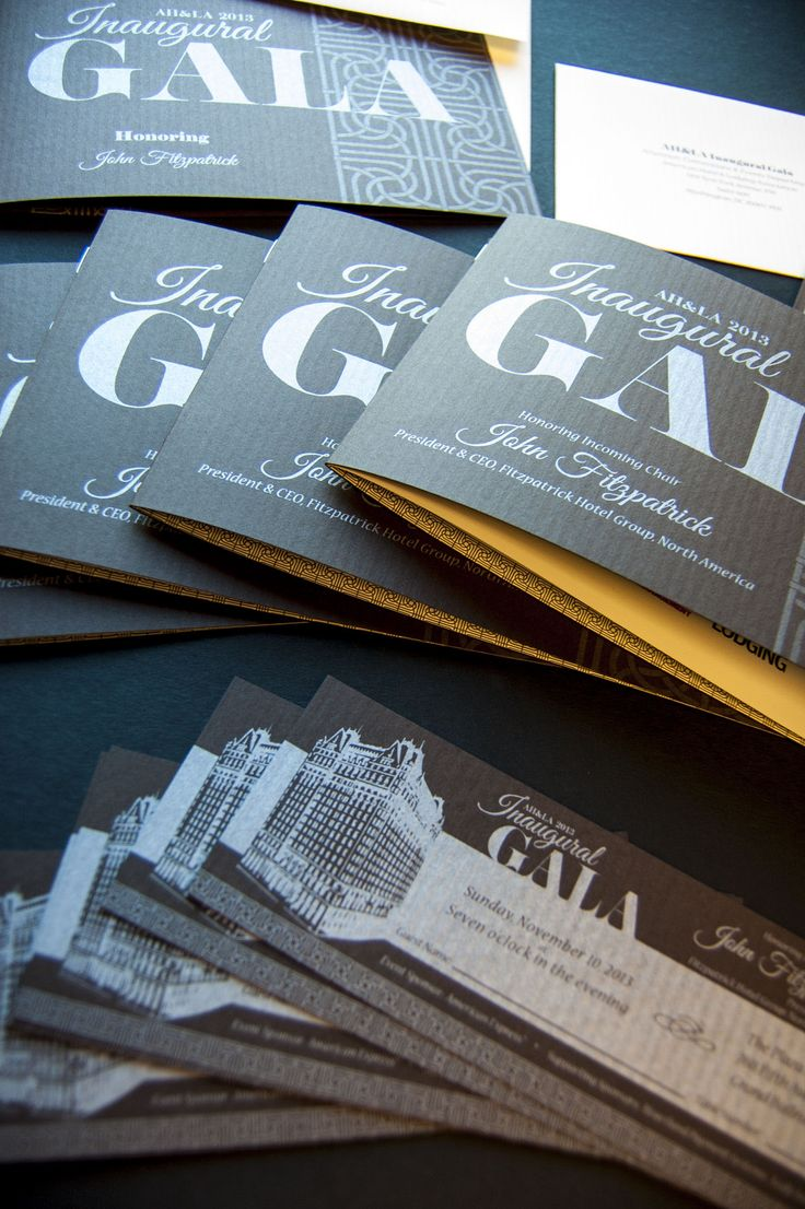 2013 Inaugural Gala invitation, Dinner program, tickets, and reply card printed in silver ink on Neenah Classic Columns in Canyon Brown.