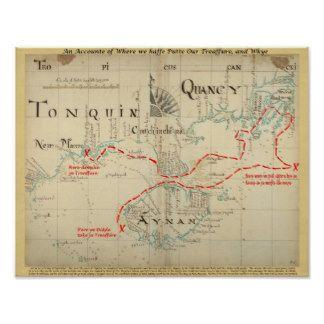 確実な1690人の海賊地図(装飾と) プリント