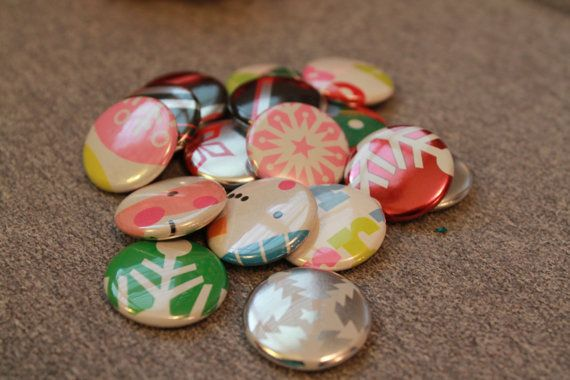 Christmas wrapping paper 1 inch buttons by BecomingButtons on Etsy, $5.00