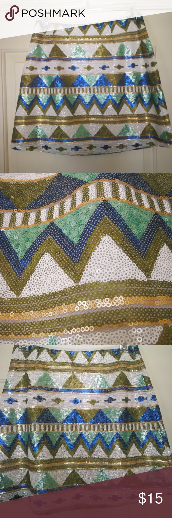 Aztec sequin skirt Aztec pattern sequin skirt sequins all over excellent condition Altar'd State Skirts Mini