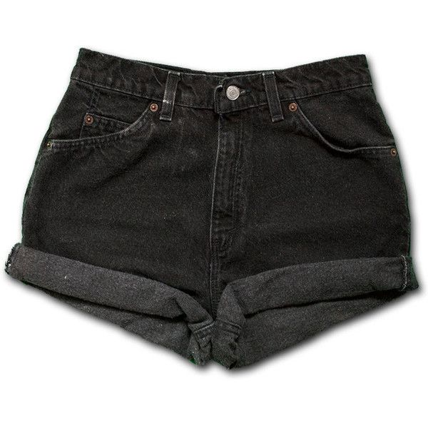 Vintage 90s Levi's Black Gray Dark Wash Colored High Waisted Rise Cut... ($50) ❤ liked on Polyvore featuring shorts, bottoms, pants, denim cutoff shorts, cut off shorts, black high waisted shorts, cuffed denim shorts and high rise jean shorts