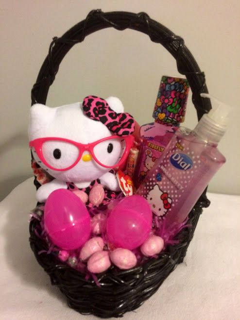 808 best order gift baskets retail products flowers candy nuts 25 ebay pink smart hello kitty easter gift basket hellokitty negle Images