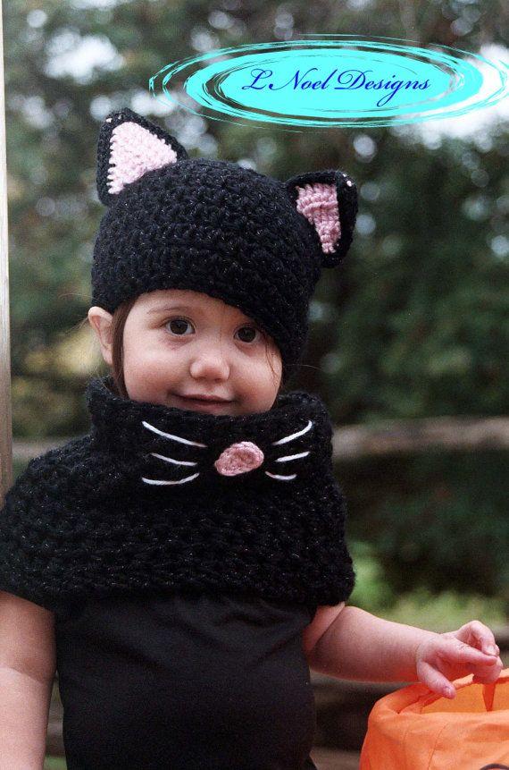 Black Cat Hat and Cowl Set- Black Cat Costume- Kids Halloween Costume- Baby Cat hat and cowl set- Crochet Cat Hat- Crochet Cat Costume