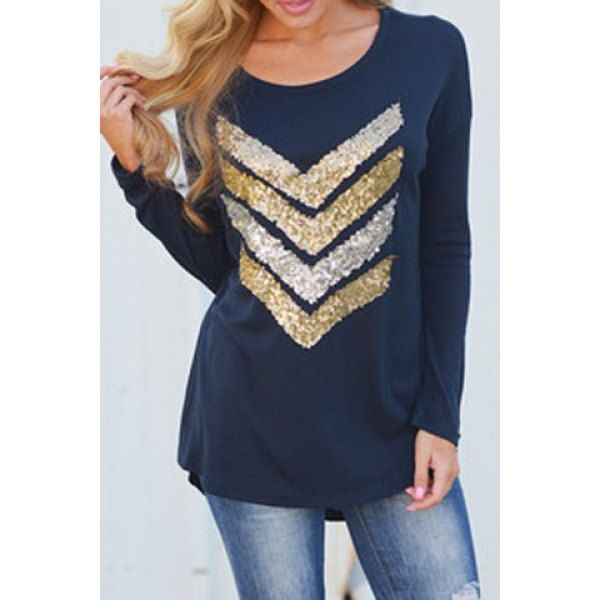 Wholesale Trendy Sequin Spliced Long Sleeve T-Shirt For Women Only $4.17 Drop Shipping | TrendsGal.com