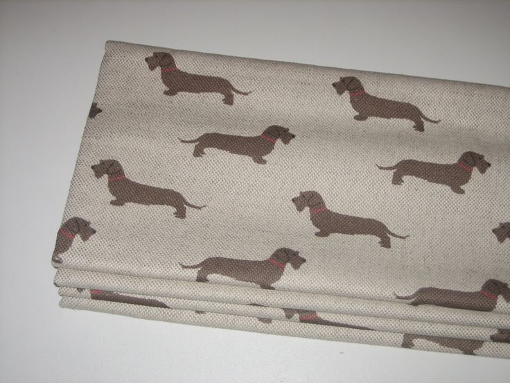 Roman Blind In Emily Bond Wire Haired Dachshund Fabric