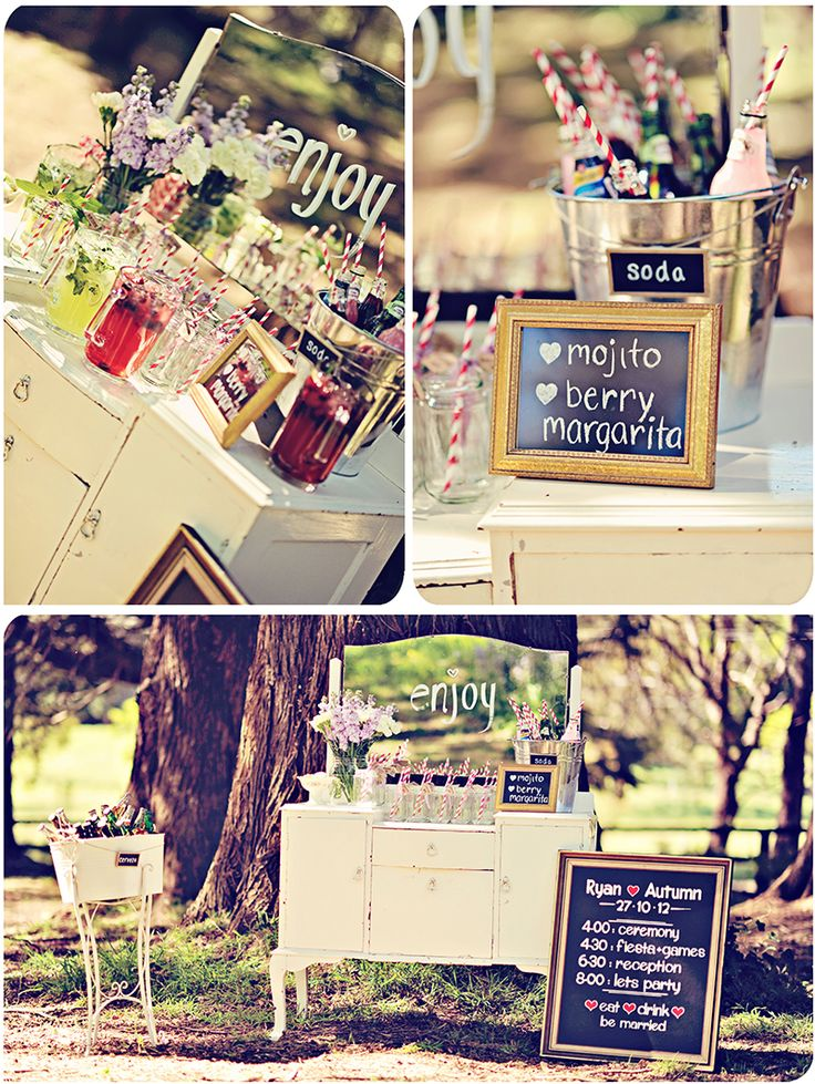 Gaia Photography. Wedding drinks table mexican cocktails, vintage