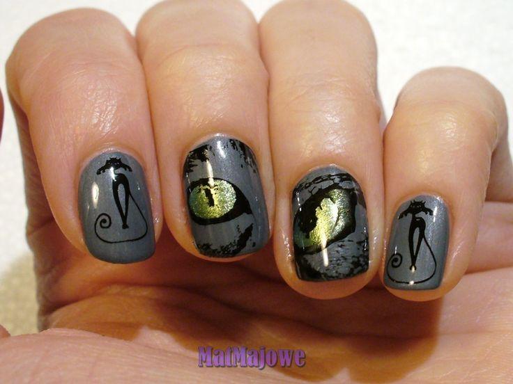 1. Odbijany (stemple) Stamped nails http://matmajowe.blogspot.com/2015/02/projekt-nailart-1-kot-o-duochromowym.html