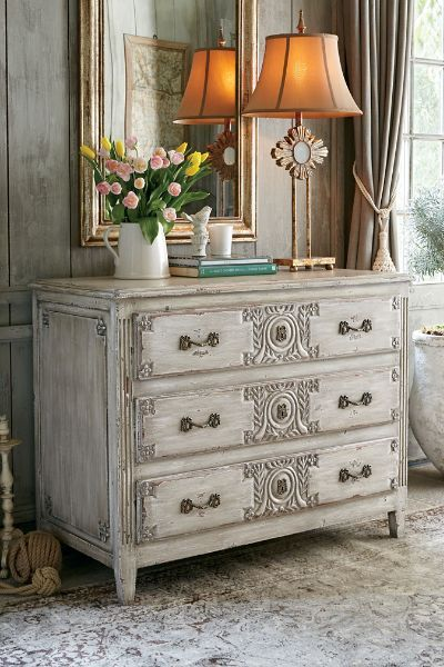 Featuring a lovely ivory patina, our Grecian Chest is hand made by wood artisans. It is crafted of solid mahogany and teak.