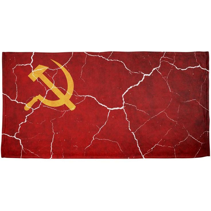 Distressed Soviet Union Flag All Over Beach Towel