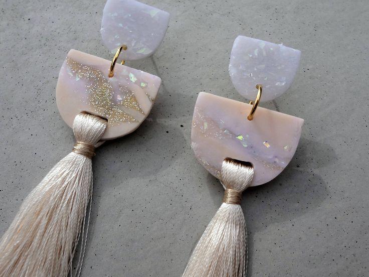 The Bride - Cream / Tassel Earrings / Polymer Clay Earrings / Stud Earrings by thesleeplesscreative on Etsy