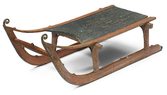 """American Victorian sled -  Hardwood with hand-forged metal runners & rope tie, with original paint & stenciling, built for R.H. Webb, Chester, CT, 1840 (hand-painted to underside), with """"Rosebud"""" added to seat. Provenance: presented to screenwriter Herman Mankiewicz at the conclusion of the filming of Citizen Kane (1941); in the possession of the Mankiewicz family from that time to the present."""