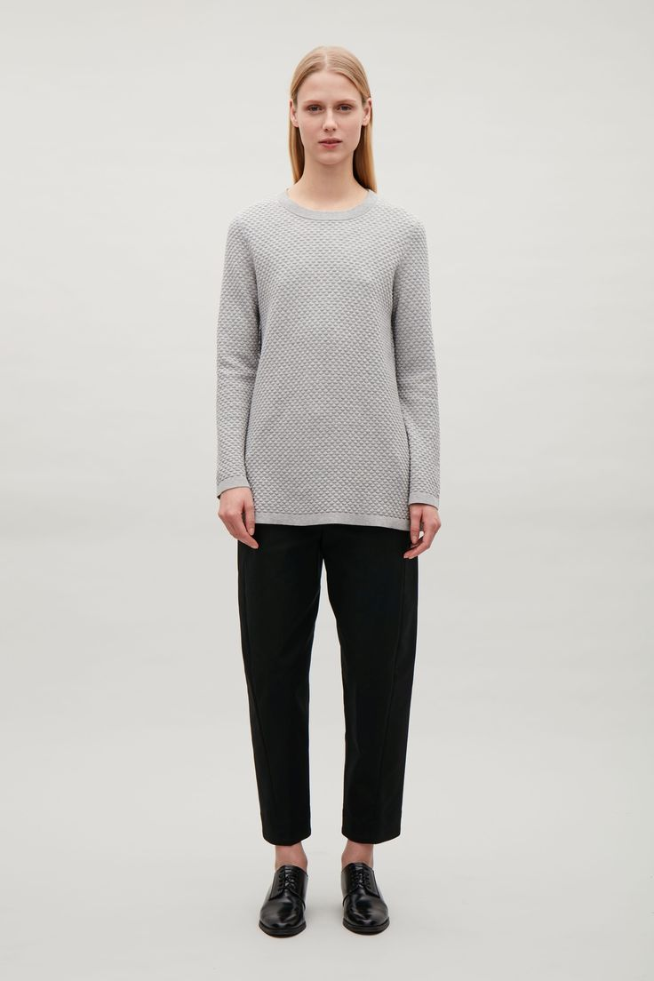COS image 16 of Textured cotton jumper in Light grey