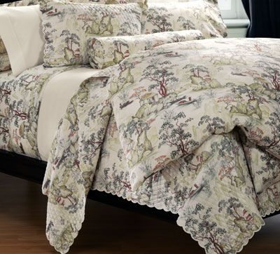 Quilted Cotton Percale Asian Toile Coverlet Saru For The Home Pinterest