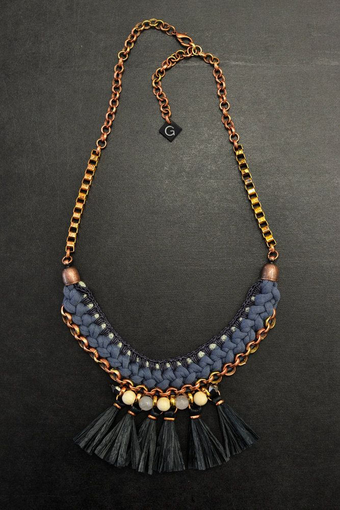 Black Tassel Necklace Fan Necklace Black and Blue by gudbling