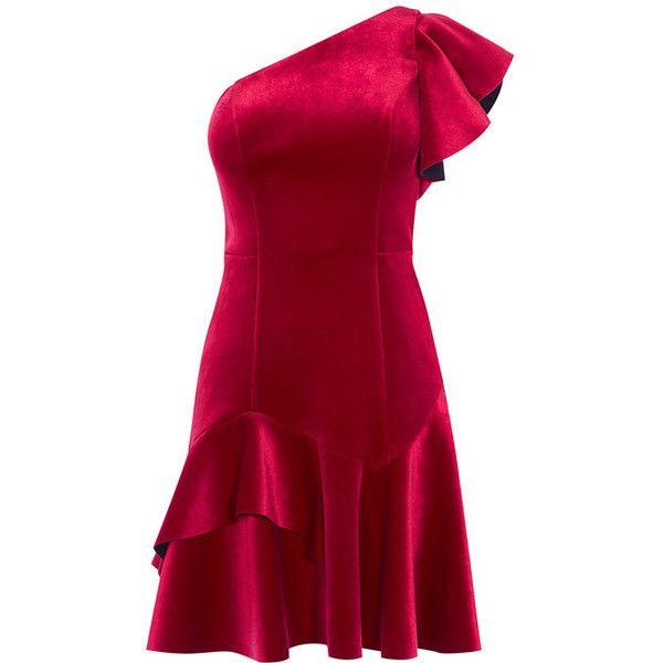 madalina velvet dress ($170) ❤ liked on Polyvore featuring dresses, flutter-sleeve dress, red dresses, ruffle dress, flounce dress and red ruffle dress