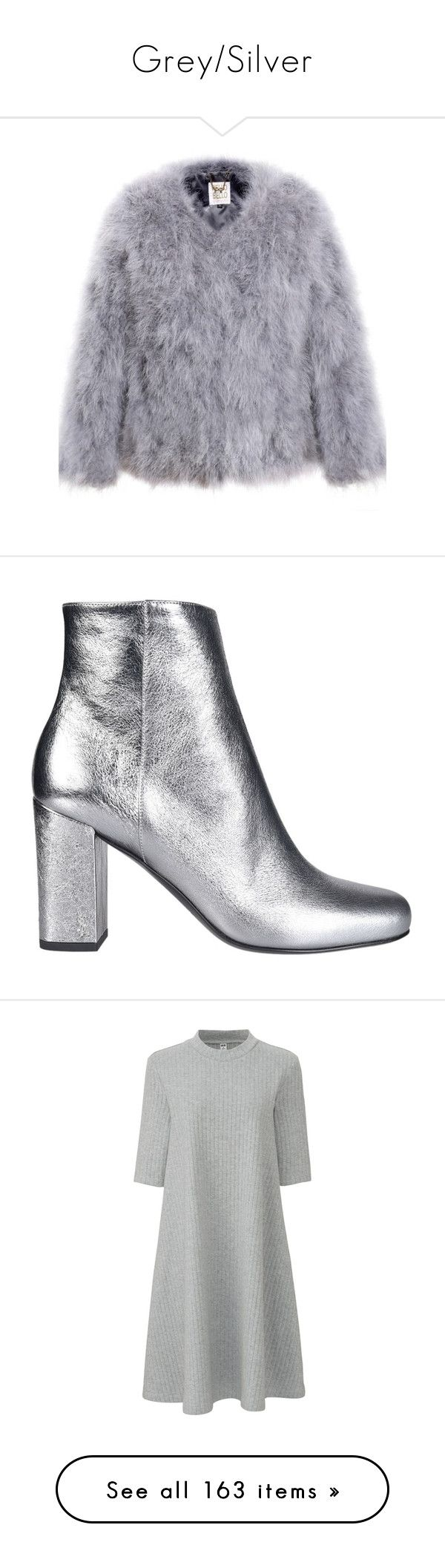 """""""Grey/Silver"""" by tina-teena ❤ liked on Polyvore featuring outerwear, jackets, feather jacket, fur jacket, shoes, boots, ankle booties, silver, silver boots and yves saint laurent"""