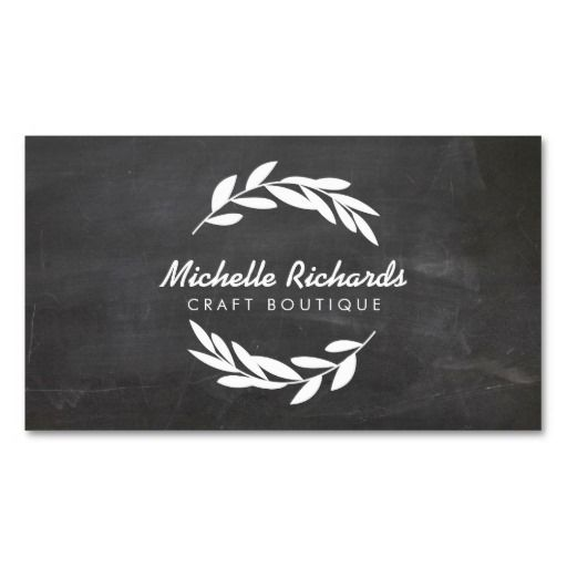 Olive Branch Wreath Logo on Chalkboard - Business Card Template for Etsy Sellers, Crafters, Handmade Goods, Personal Branding, Organic, etc.