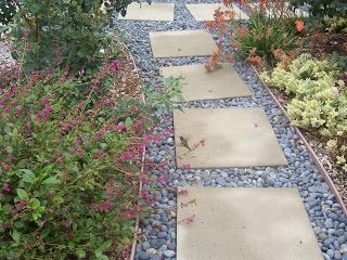 Stepping Stone Pathway with Mexican Beach Pebbles