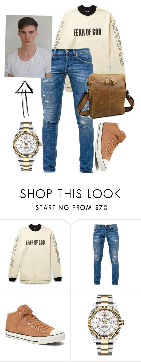 """Zeus son"" by hazzysenpai ❤ liked on Polyvore featuring Fear of God, Dondup, Converse, Rolex, men's fashion and menswear"