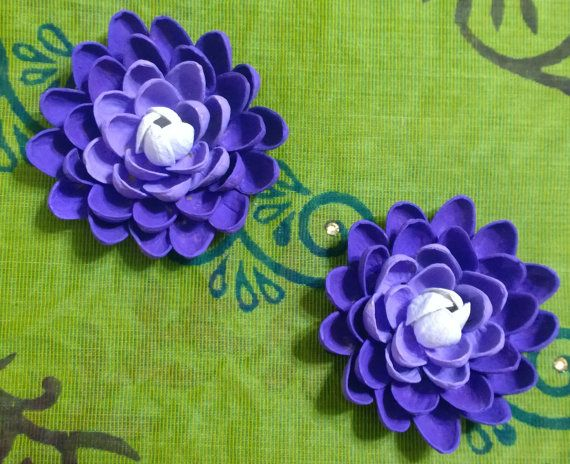 Pistachio Shell Flower Magnets  Set of Two  Purple by YarnRoad