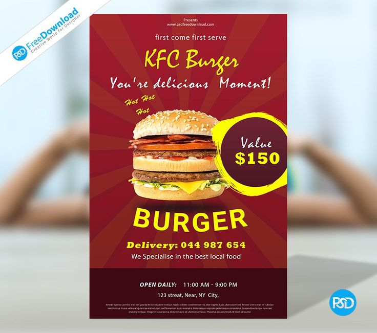 Burger Flyer Psd Free Template Psd Free Download. Professional and creative design Food Flyer to promote on your small and medium business, company, restro, restaurants, cafe, bar, burger king, kfc, dominoz, pizza, burger singh social media. Fully layered and well organized PSD files. Layered PSD file you can easily change texts, content, images, objects and color. Download: http://bit.ly/2jcZ8rj #Burger #Offer #Special #Treat #Delicious #Deal #Kfc #Burger #Flyer #BurgerKing #Restaurants…