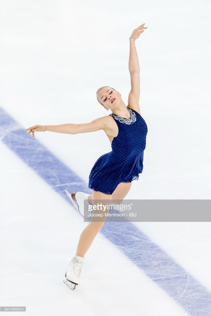 Anastasiia Gubanova of Russia competes in the Junior Ladies Short Program on day 2 of the ISU Junior Grand Prix of Figure Skating at Eis Arena Salzburg on September 01, 2017 in Salzburg, Austria.