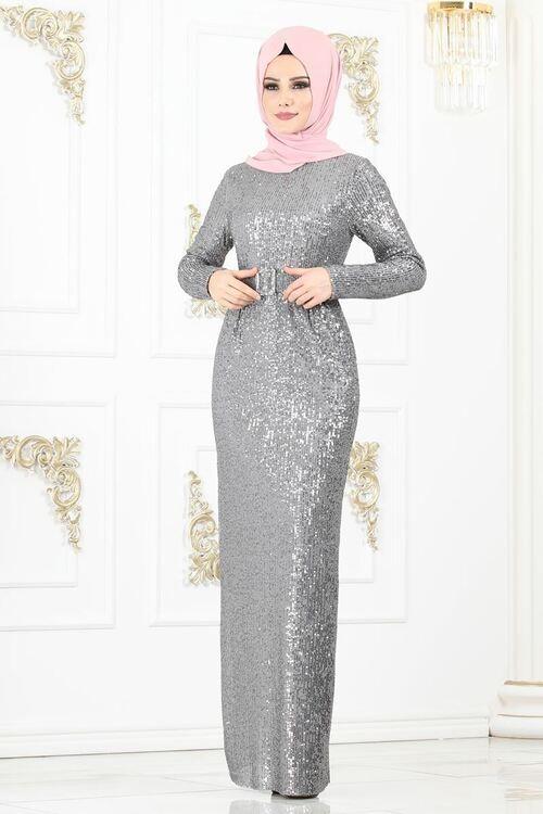 44f7c0214fe35 Modaselvim ABİYE Kemerli Pul Payet Abiye 2177MS212 Gümüş | Elbise ...