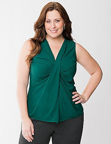 Designed to highlight your feminine curves, this head-turning shell features a unique twisted front and flattering V-neckline. Go from work to weekend with elegant ease in this fashion essential that's simply lovely alone or layered under a blazer or cardi. lanebryant.com
